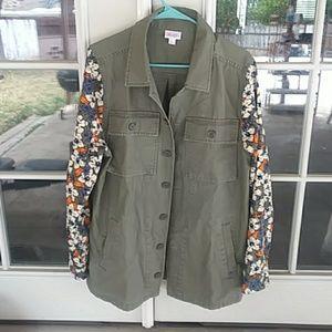 LulaRoe Floral Sleeved Olive Jacket